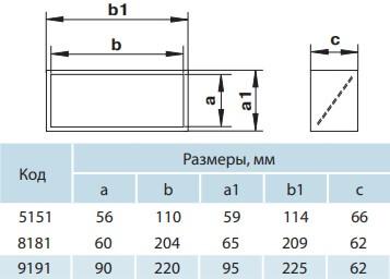 Соединитель прямоугольных пластиковых воздуховодов с обратным клапаном - Размеры