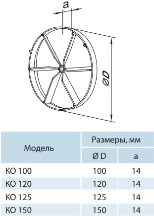 Обратный клапан для вентиляторов Вентс КО - Размеры