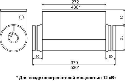 Электрический канальный нагреватель Airone ЕОК - Размеры