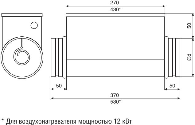 Электрический нагреватель для круглых каналов Shuft EHC - Размеры